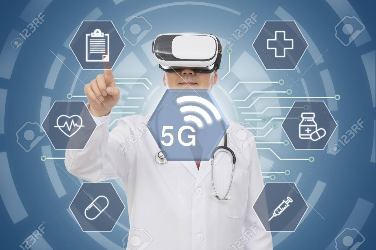 Male doctor wearing virtual reality glasses. 5G Medical Concept. CG