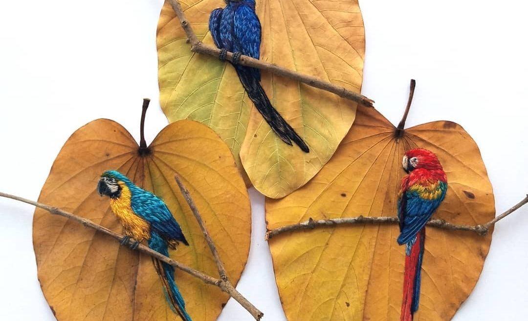 用藝術紀錄世界!刺繡大師刺出瀕危鳥類!