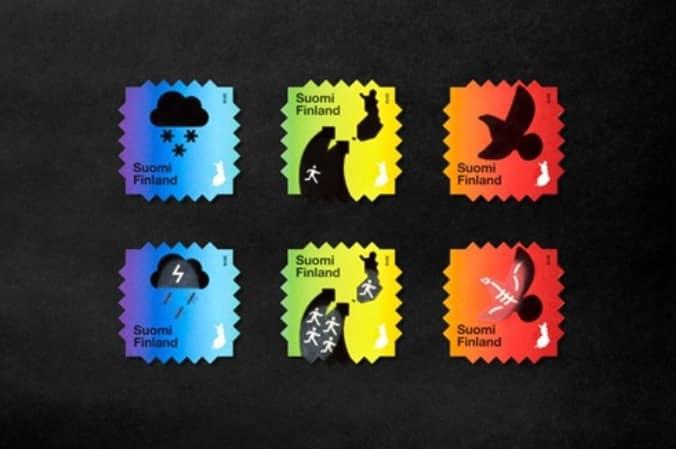 關心地球郵票 芬蘭郵政局推出「熱感應郵票」,當手指按壓在郵票上,手指的溫度與郵票聯結,郵票會漸變另一種色彩,圖案結合氣候變遷,引人深思